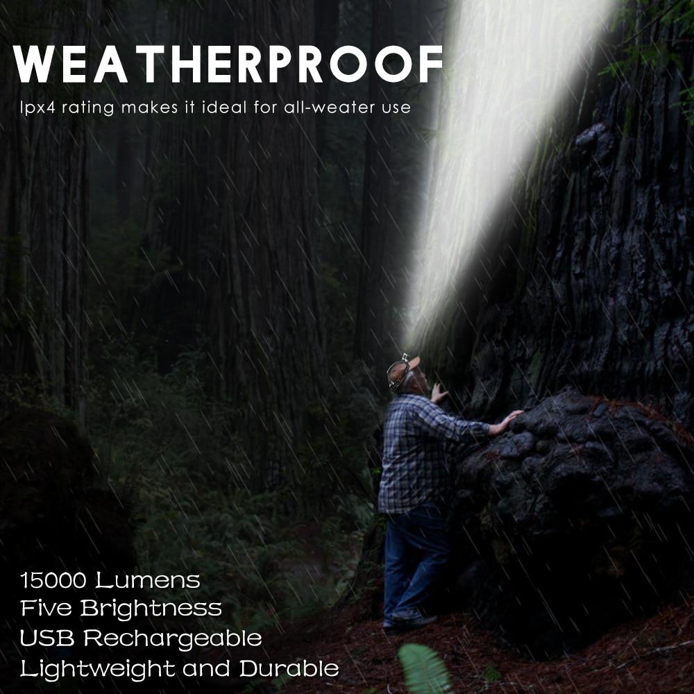 15000Lm T6 + 2R5 LED Faros Faros Faros Lámpara Lámpara 4Modo - Iluminación portatil - foto 5