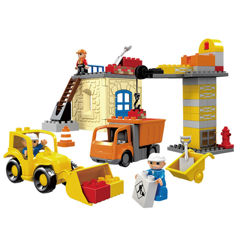City Engineering Project Team Big Size Blocks Figures Compatible With DUPLO Brick Building Educational Toys For Kids superwit 72pcs big size city diy creative building blocks brick compatible with duplo sets lepin educational toys children gifts