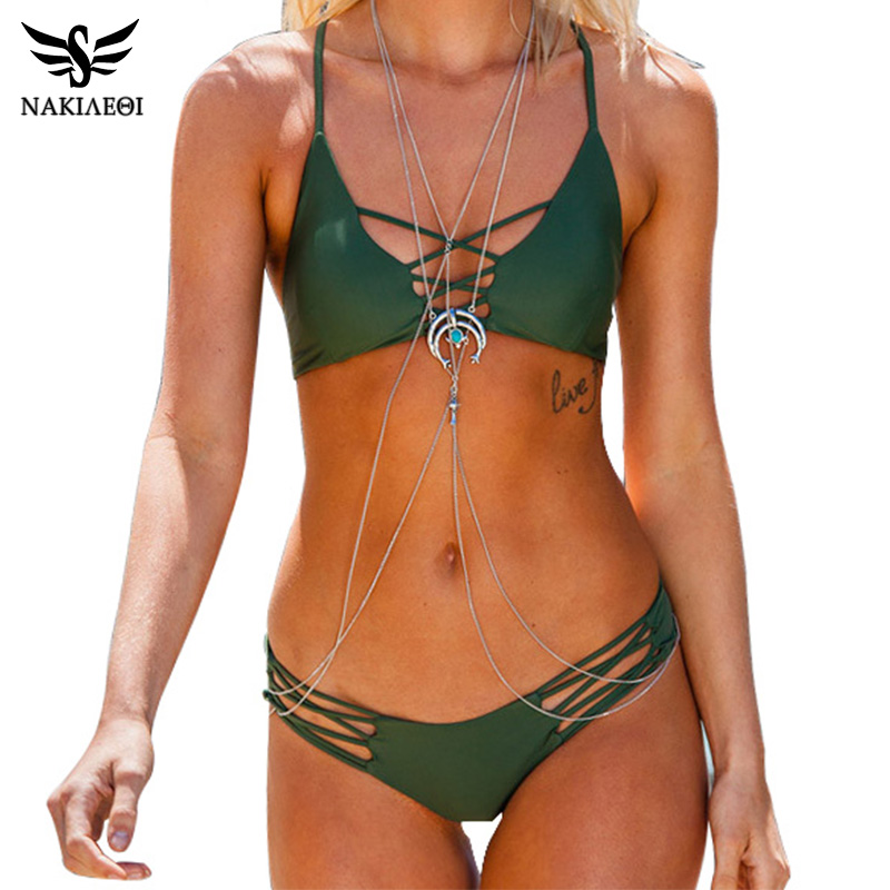NAKIAEOI Sexy Brazilian Bikini Swimwear Swimsuit Bathing Suit Women Biquini 2017 Push Up Bikini Set Femme Beach Wear Swim Suit lace up bikini set push up swimwear swimsuit women beach biquini pareo bath 2017 women swimwear monokini bathing suit swim suit
