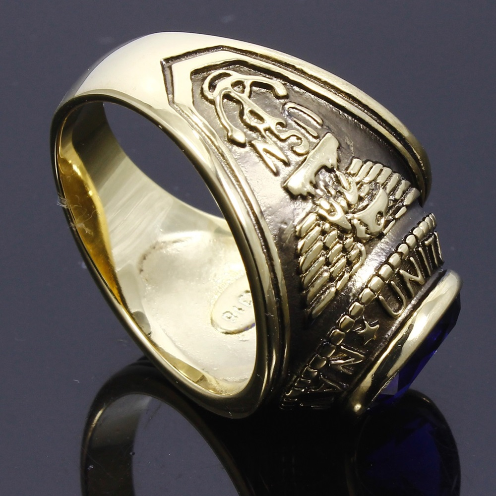 DreamCarnival 1989 US Navy Military Gothic Rings for Men Stainless Steel Antique Gold Color Anel Montana Blue Stone TK414707