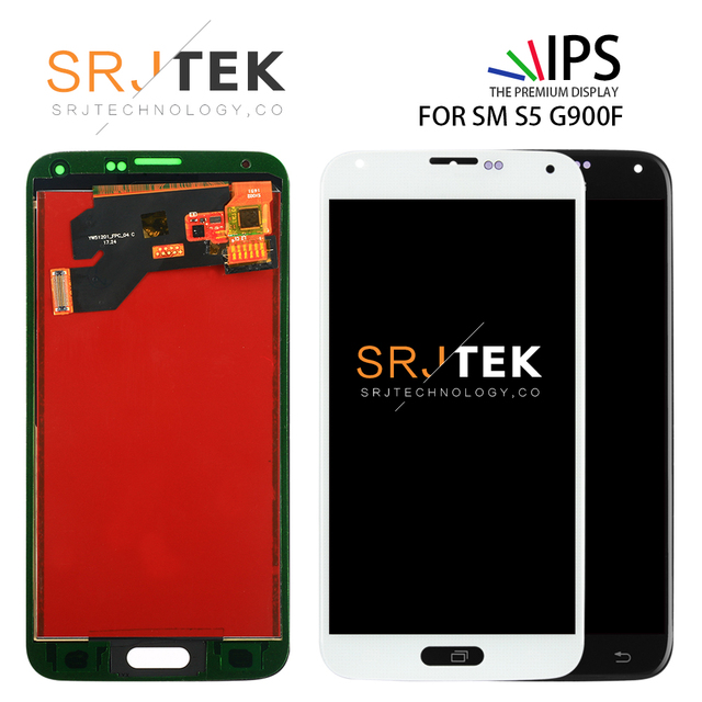 TFT يمكن ضبط لسامسونج S5 G900F عرض LCD شاشة مجموعة رقمنة اللمس متوافق لسامسونج غالاكسي S5 G900 G900F LCD