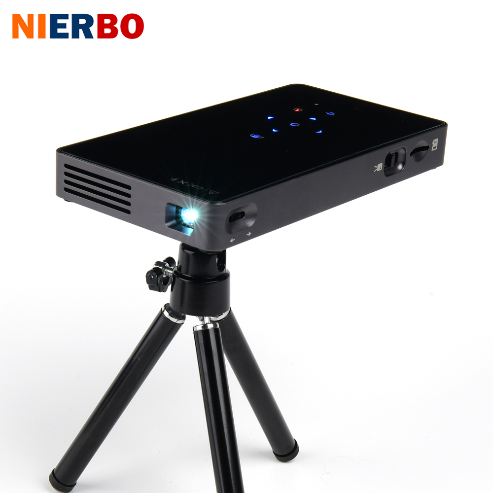 NIERBO Mini Projector LED Portable Projectors Android 7.1 Home Theater Support 1080P Wireless Mobile Projector Smart HDMI USB mini led lcd video projector 320 x 240 support 1080p av usb sd hdmi for home portable mobile projector for tv home theater