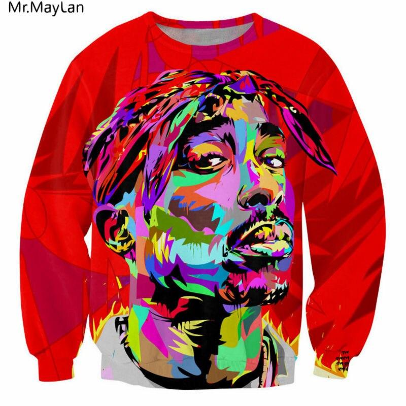 2018 Unisex 3D Hoodies 2pac Tupac Funny Red Face Printing Sweatshirts Casual Tie-dye Tops Mens Hip Hop Streetwear Sweats Tops