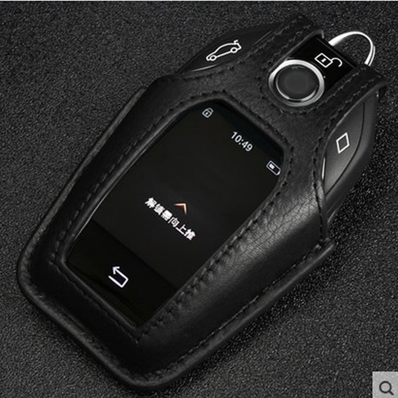 Genuine Leather Car Key Wallet For New BMW 7 Series 730Li 740Li Key Case Auto Key Chain Holder Key Cover Car Accessories