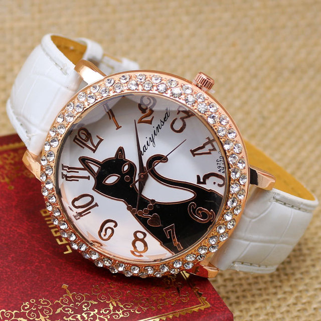 Lovely Black Crystal Cat Quartz Watch