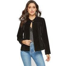 Escalier Womens Suede Leather Jacket Open Front Lapel Cardigan  Jackets