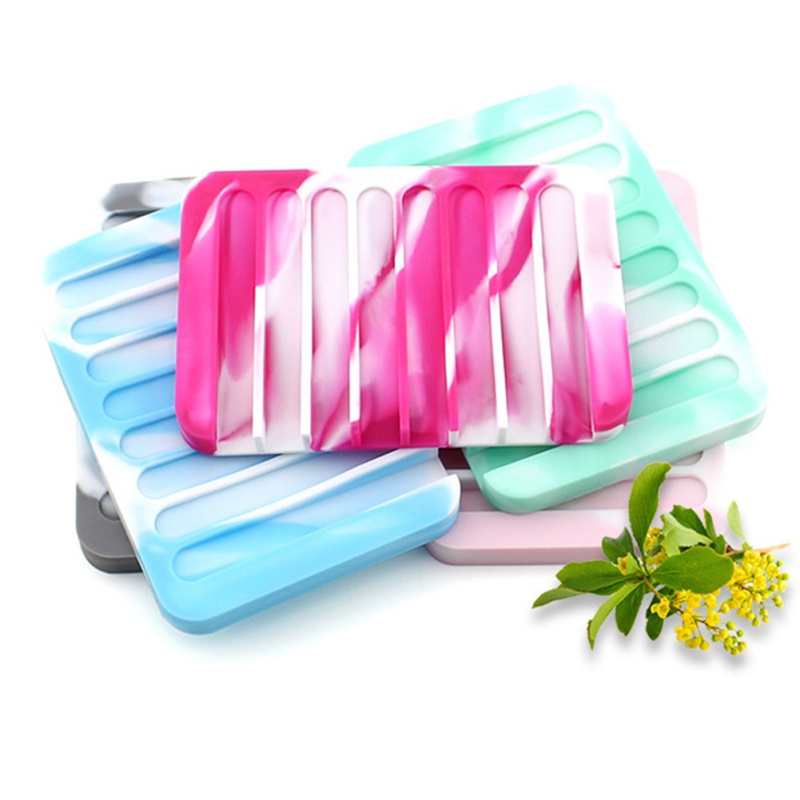 Silicon Kitchen Tray Soapbox Bathroom Flexible Soap Dish Plate Holder