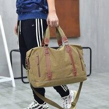 Купить с кэшбэком New Men Vintage Canvas Travel Bags Tote Big Luggage Bag Travel Shouler Bag Weekend Duffle Bags Overnight Black MJH-1435