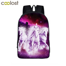 Unicorn / Crazy Horse Backpack Rainbow Pony Bag Children Animals School Bags Backpack For Teenagers Boys Backpacks Mochila(China)