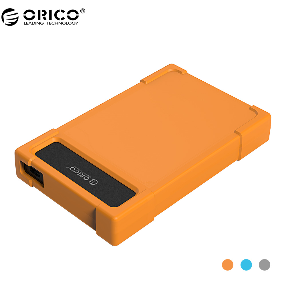 ORICO 28UTS-C3 2.5 inch Type-C Hard Drive Enclosure USB3.1 Gen1 Adapter HDD SATA Adapter with Leather - Orange/Blue/Gray orico crs12 orange картридер