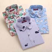 Harajuku Print Women Blouses Shirts Cotton Long Sleeve Ladies Tops