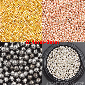 1 Pot High Quality 0.4-3mm 4 Colors Alloy Metal Round Caviar Beads Ball Nail Art Rhinestone Gem Decoration Manicure DIY Tips CF image