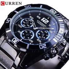 CURREN Waterproof Military Sport Design Black Stainless Steel Mens Quartz Waterproof Wrist Watches Top Brand Luxury Male Clock curren brand design new 2016 sport steel clock quality steel military man male luxury gift wrist quart business army watch 8056