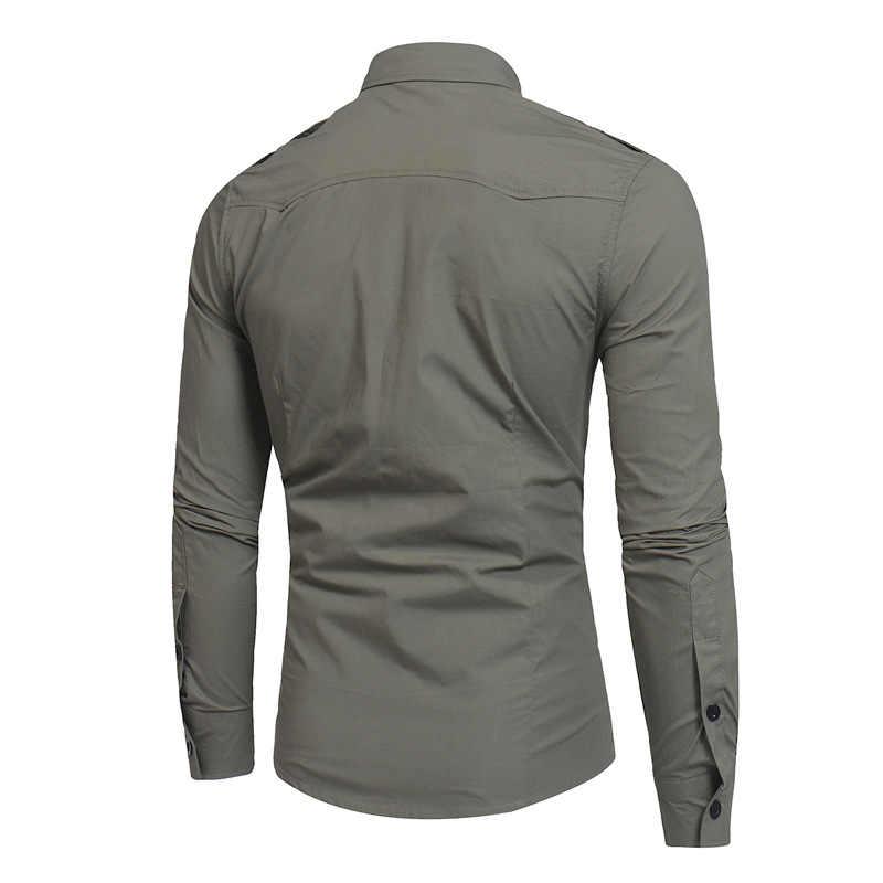 قميص رجالي 2019 طويل كم البضائع قميص الأزياء عارضة الربيع موحدة العسكرية نمط الصلبة القطن الذكور عارضة الكاكي الجيش قميص