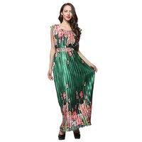 New Women Formal Maxi Long Dress 2018 Bohemia High Waist Female Evening Gowns Party Pouf Dresses Plus Size 5XL Emerald Clothing