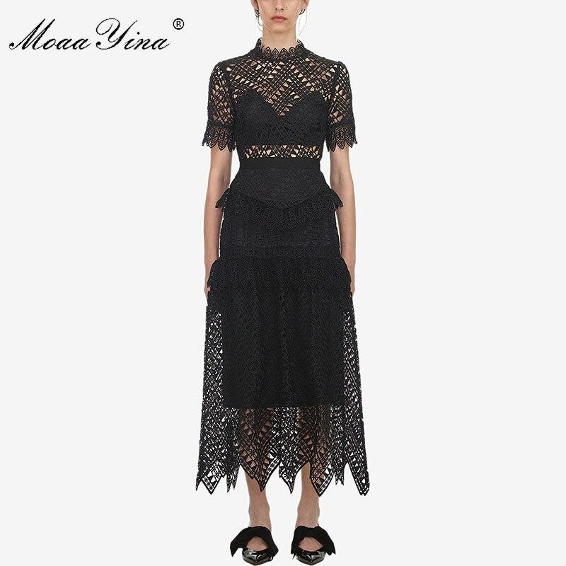 MoaaYina Primavera Verano nuevo llegan mujeres de encaje negro Vestido de manga corta de alta calidad-in Vestidos from Ropa de mujer    1