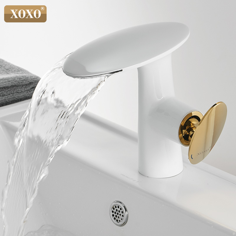 XOXO Basin  Faucet Cold and Hot Waterfall Basin Mixer Tap Single Handle Sink Mixer Tap Deck Mounted Bathroom Torneiras 21015    XOXO Basin  Faucet Cold and Hot Waterfall Basin Mixer Tap Single Handle Sink Mixer Tap Deck Mounted Bathroom Torneiras 21015