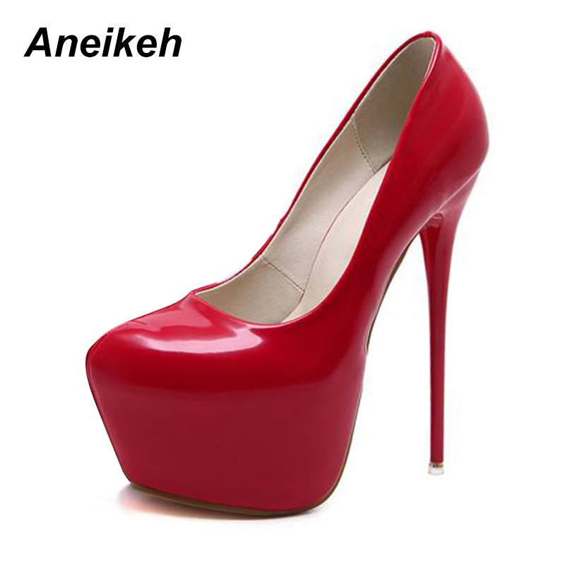 Aneikeh 2018 Fashion Ultra High Heels Women Shoes Patent Leather Platform Heels Slip-On Round Toe Sexy Wedding Nightclub Party black 8 inch ultra high heels peep toe shoes platform heels women fashion patent leather dress shoes sexy shoes