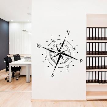 Compass Rose Wall Decal Office Vinyl Decals Nautical Compass Navigate Ship Ocean Sea Wall Stickers Home Decor Living Room D855 1
