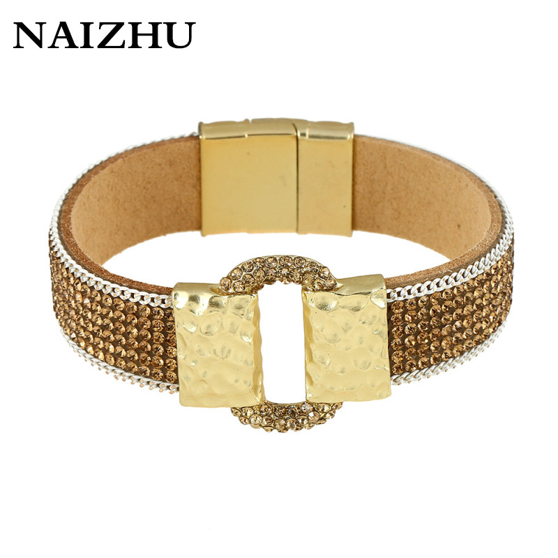 New Brand Design Bracelet & Bangles for Women 2017 Magnetic clasp Gold Pated Ouch High-grade Leather braclet fashion jewelry