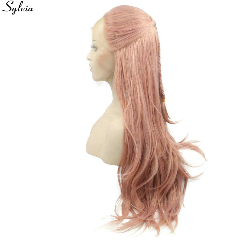 Sylvia Rose Gold Pastel Pink Natural Wave with Fishtail Braided Wigs Heat Resistant Hair Synthetic Lace