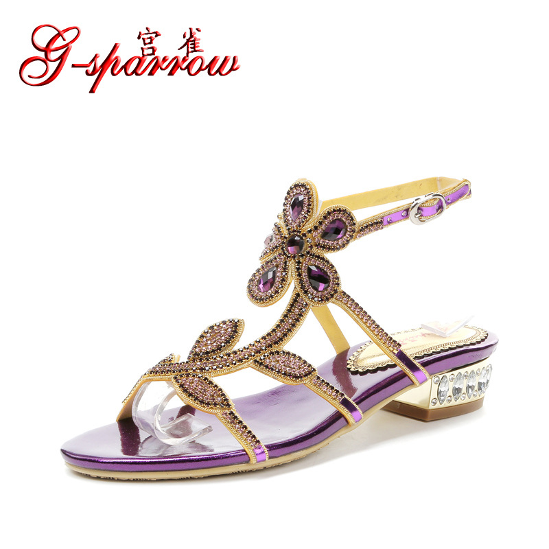 2018 New Elegant Casual Purple High Heel Large Size Summer Shoes Prom Diamond Flat Sandals For Wedding Dress