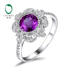 цена Free shipping 1.04ct Amethyst 14kt Gold 0.17ct Natural Diamond Engagement Ring
