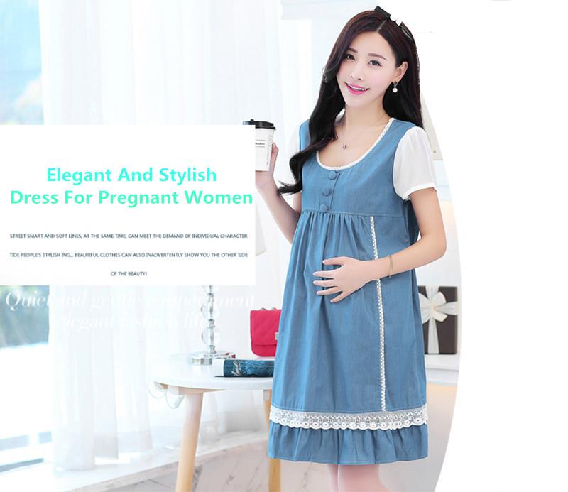 cddfcfb964 Summer Long Maternity Wear Big Sizes Gestantes Pregnant Denim ...