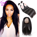 Pre Plucked 8a Brazilian Straight Hair With 360 Lace Frontal Closure Cheap Brazilian Virgin Hair 2 Bundles With 360 Lace Frontal