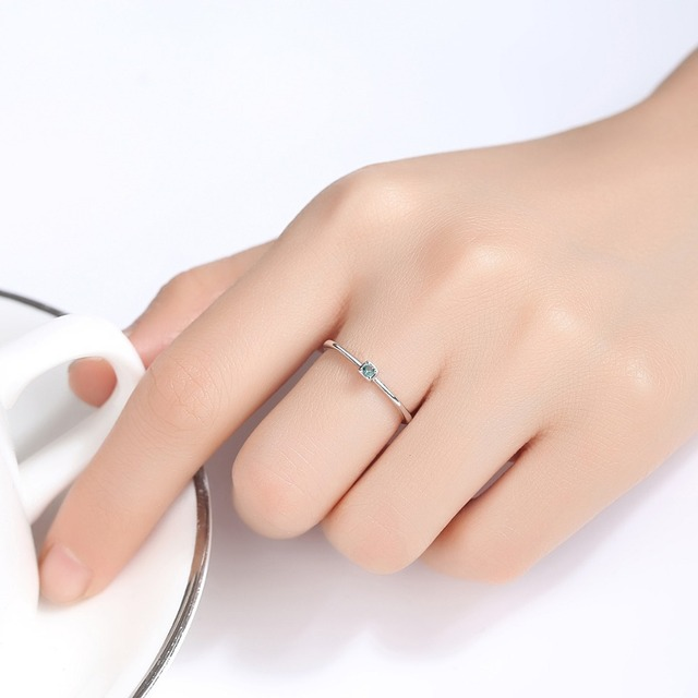 CZCITY 여성을위한 정품 925 스털링 실버 VVS 그린 토파즈 결혼 반지 미니멀리스트 얇은 원형 보석 반지 S925 조각 보석