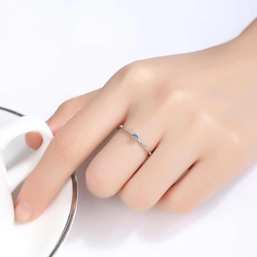 CZCITY 本物の 925 スターリングシルバー VVS グリーントパーズの結婚指輪ミニマリスト薄型サークル宝石リングジュエリー彫刻 S925