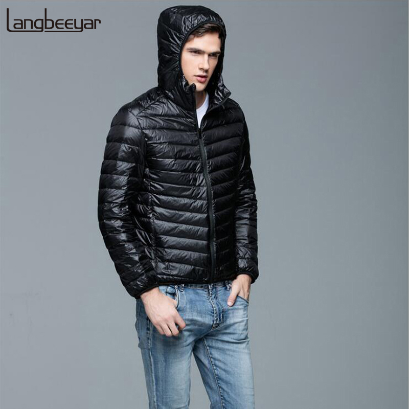 2019 Winter Fashion Brand Ultralight Duck   Down   Jacket Mens Packable Streetwear Feather   Coats   Korean Hooded Warm Mens Clothing