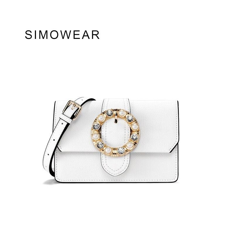 SIMOWEAR 2017 Autumn Split Leather Women Handbag Satchel Casual Diamond Decorated Flap Shoulder Bag Messenger Bag novelty design belt decorated women satchel