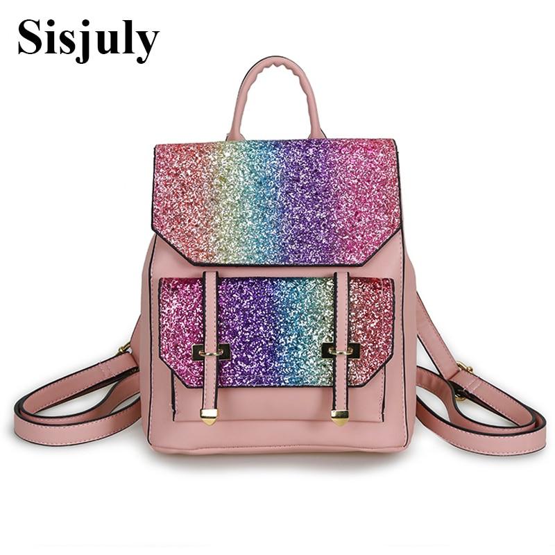 Sisjuly Glitter Female Leather Backpack Women Sequin Backpack For Teenage Girls Bling Fashion 2018 School Bag mochila Sac A Dos