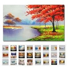 Большая ручная живопись современный абстрактный пейзаж озера и горы палитра нож картина маслом на холсте для декора стен