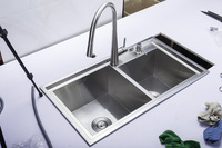 (78X43x22cm) kitchen vegetable washing basin, sink drawing thickening double groove double groove 304 stainless steel basin