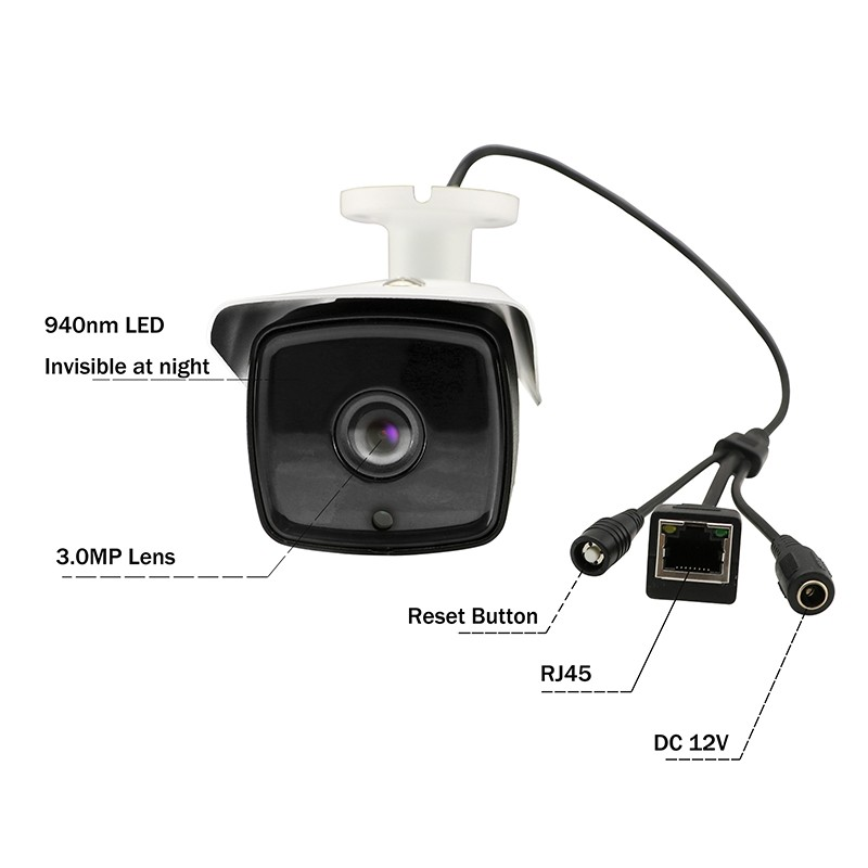 US Stock XM510 1MP 720P 3.6MM POE IP Camera Onvif  4IR Outdoor Security Network
