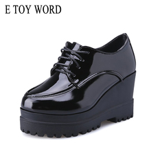 E TOY WORD Autumn Women Shoes Wedge Patent Leather shoes Flat Platform england shoe women high heel Ladies