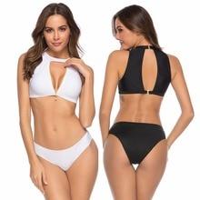 цена на Brazilian bikini set Zipper sports swimwear Thong bathing suit Women Bathers biquini Push Up Micro Bikini
