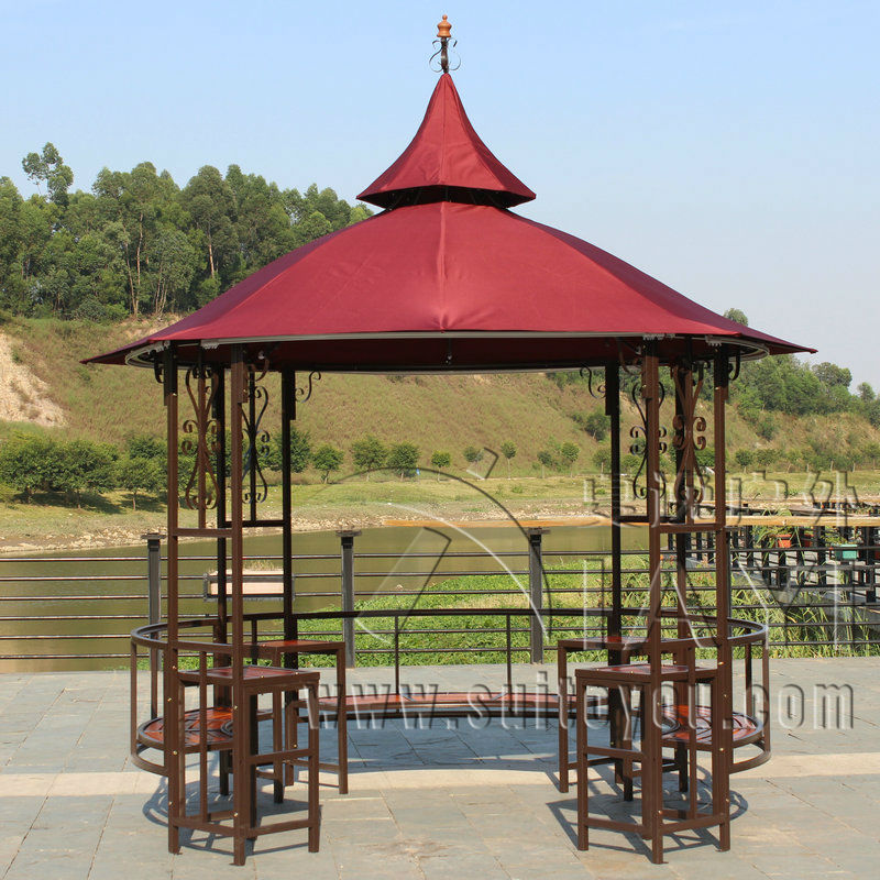 Dia 3.5 Luxury Meter Steel Iron High Quality Durbble Outdoor Gazebo Tent  Patio Pavilion Canopy Garden Sun Shade Furniture House In Gazebos From Home  ...