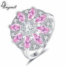 lingmei Wedding Round & Marquise Cut Yellow White Pink Cubic Zircon Fashion Jewelry Silver Ring Size 6 7 8 9 Valentines Day