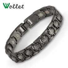 Wollet Jewelry Bio Magnetic Bracelet Bangle for Men Black Color All Magnets Health care Healing Energy nano bio energy health card and bio energy card pvc plastic anti radiation card supply