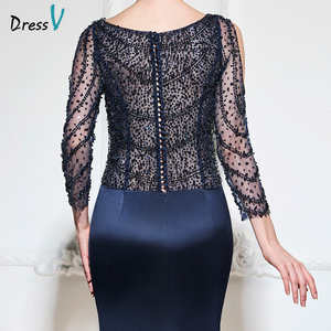 Image 4 - Dressv dark navy mermaid long evening dress v neck 3/4 sleeves button wedding party formal gowns dress sequins evening dresses