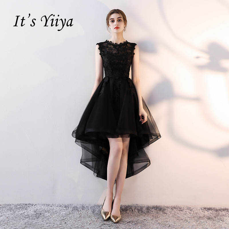 It s YiiYa Sex Lace Backless Illusion High-low Flowers Zipper Tea Length Formal  Dresses Party a8c1f4f2c530