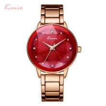 KIMIO Марка Для женщин Star Большой циферблат браслет часы Нержавеющаясталь женские роскошные часы Diamond Для женщин часы reloj mujer relog