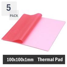 pink 100mmx100mmx1mm GPU CPU Heatsink Cooling Thermal Conductive Silicone Pad