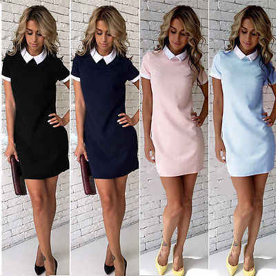 Womens Dress  Summer Casual Short Sleeve Peter Pan Collar Evening Party Straight Office Dress White Doll Collar Short Mini Dress