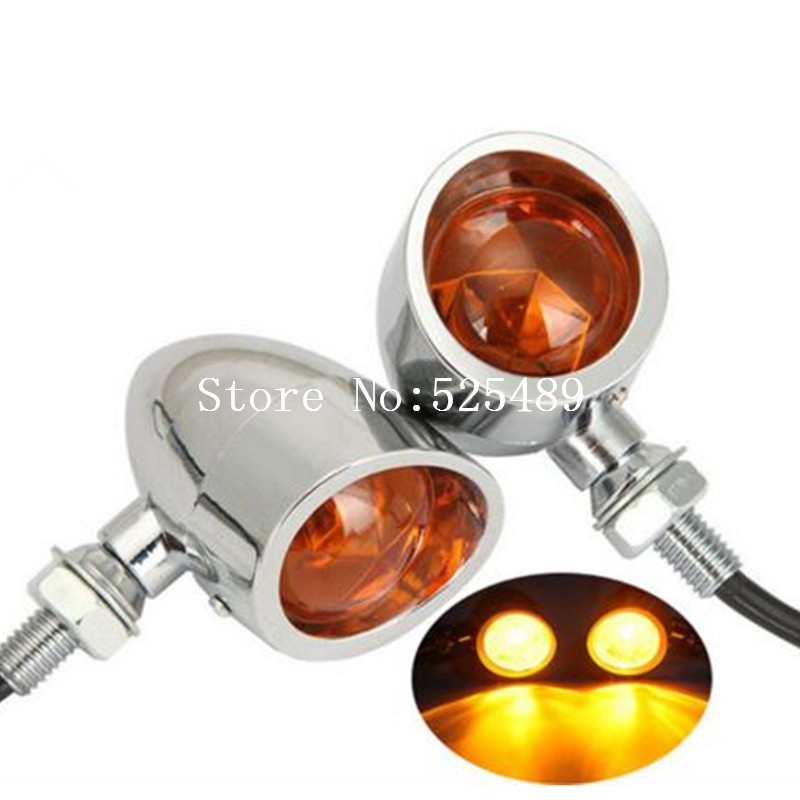 2x Metal 12V Motorcycle Turn Signal Indicator Lights Amber Lamp For Harley Honda Yamaha Suzuki Kawasaki KTM Cruiser Street Bike ...