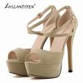 LOSLANDIFEN Mulheres Bombas Peep Toe Sapatos De Noiva Sapatos de Super Saltos Altos Bombas Mulheres Sapatos de Plataforma 817-8VE
