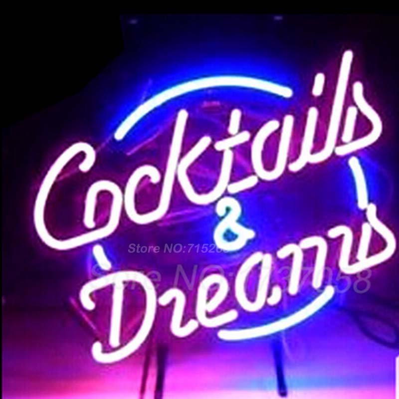 COCKTAILS AND DREAMS LIGHT SIGN Neon Light Sign Real Glass Tube Handcraft Custom LOGO Neon Bulbs Recreation Room Sign VD 17x14 custom signage neon signs pizza beer real glass tube bar pub signboard display decorate store shop light sign 17 14